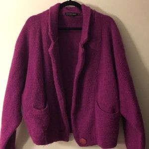 Acrylic and wool blend cardigan jacket
